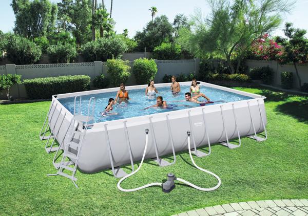 Piscina estructural bestway power steel rectangular for Cubierta piscina bestway